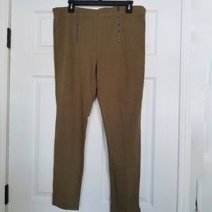 Hue tan riding pants leggings XL NWT zipper